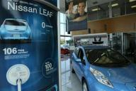 Nissan Leaf full electric car is seen at Darcars Nissan in Rockville Maryland